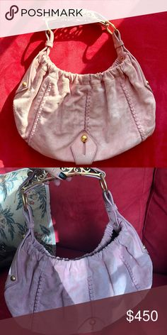 5502b9d94ba8 Yves St Laurent light pink suede timeless handbag A true gem! An authentic  YSL pink suede handbag with a gold handle. Some light wear on the suede