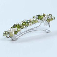 olive green barrette hair clip swarovski pearls . one of a kind