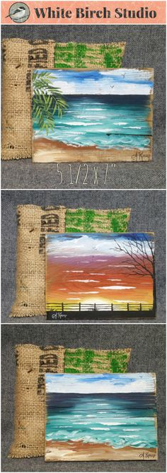 """Original Small Beach Acrylic painting on reclaimed wood 5 1/2"""" x 7"""" tall  ATTENTION Sunset Lovers! Set a unique sunset painting on your kitchen counter, on your desk by your computer or hang as a group collection vertically or horizontally. Each piece is hand painted and sanded for an aged appearance. Each piece comes in a hand sewn bag made from recycled coffee bean sacks and the enclosure is an old nail."""