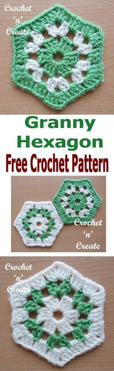 Crochet granny hexagon FREE pattern, they seem to be the in thing at the moment and are great for shawls, blankets etc. #crochetncreate #crochethexagon #crochetafghans