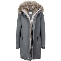 Asphalt grey Parka with rabbit fur and coyote trimming (3.480 BRL) ❤ liked on Polyvore featuring outerwear, coats, hooded parka coat, padded parka, grey parka coat, grey coat and army parka
