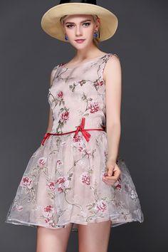 Apricot Sleeveless Floral Print Flare Dress US$64.73