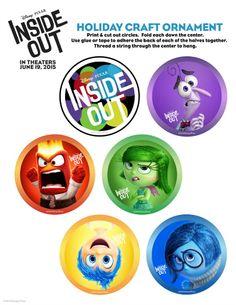 Printable Disney Pixar Inside Out Holiday Christmas Ornament Craft