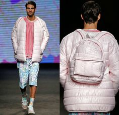 Krizia Robustella 2015-2016 Fall Autumn Winter Mens Runway Catwalk Looks - 080 Barcelona Fashion Catalonia Catalan Spain - Sickly Sweet Care Bears Print Graphic Pattern Shorts Sweater Quilted Puffer Jacket Double Pants Tiered Jumper Trainers Backpack Shirt Cap