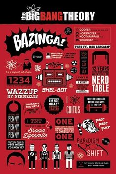 If you are a true #TheBigBangTheory fan, this awesome poster packed with quotes and jokes from the show is a must have addition to your room! Printed in red, white and black, it will look great on your wall and ensure you know #TBBT inside out!