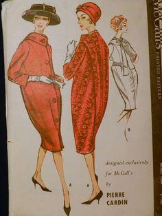 Vtg 1950s 1958 McCall 4695 Pierre Cardin Designer Cocoon Coat Sewing PATTERN 14