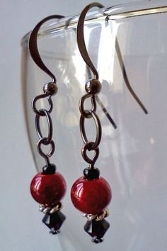 Red Glow and Black Swarovski Earrings by PinkCupcakeJC on Etsy, $8.00