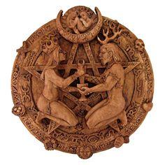 Great Rite Pentacle Plaque in Wood Finish - Dryad Design Zodiac Star Chart Pentagram Pagan Art