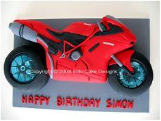 Racing Motorbike, Novelty Cakes Sydney, Birthday Cakes, Novelty cake designs, Ducati motorbike Designer Cake by EliteCakeDesigns Motorcycle Birthday Cakes, Motorcycle Cake, Bicycle Cake, Bike Cakes, Motor Cake, Fondant Figures, Rocket Cake, Cakes Sydney, Cupcake Cakes