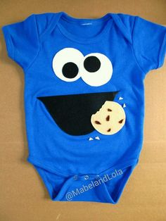 $10.99 ebay  Cookie Monster Themed Birthday Party Outfit Boys Onesie Shirt 1st Sesame Street #Handmade