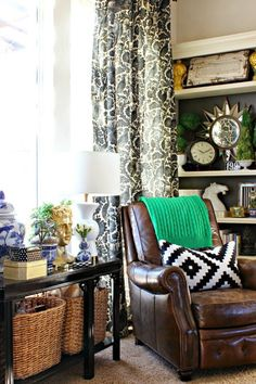 Eclectic living room decor - make this look your own with unique furniture and fun accents
