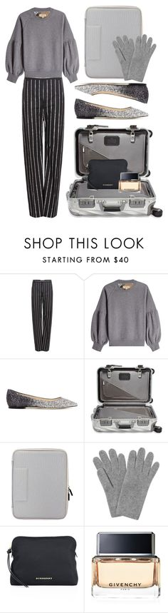 """""""Pinstripes"""" by cherieaustin ❤ liked on Polyvore featuring Balenciaga, Burberry, Jimmy Choo, Tumi, L.K.Bennett and Givenchy"""