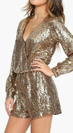 New Gold beaded Romper Sequin Jumper Long Sleeve jumpsuit shorts formal wrap new New Year Look, New Years Outfit, Looks Style, Dress Me Up, Dress To Impress, Cute Dresses, Marie, Party Dress, Rompers