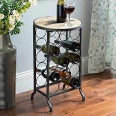 Chardonnay Wood and Metal Wine Rack Table | Kirklands