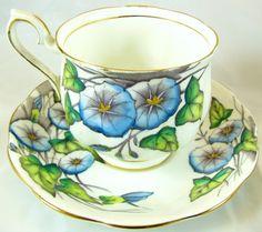 Royal Albert Morning Glory TEA CUP & SAUCER Bone England Flower of Month vintage
