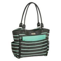 Carter's JOY Zip Down Front Fashion Tote Diaper Bag - Grey/Mint Green Stripe : Target