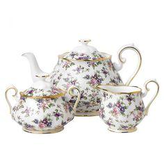 100 Years Of Royal Albert 1940 English Chintz Teapot, Sugar and Cream Set