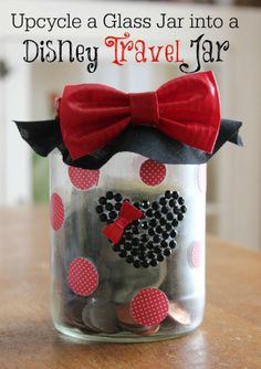 Upcycle a glass jar into a Disney Travel Jar #typeaparent
