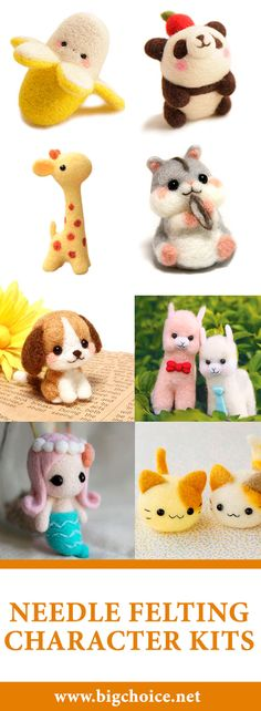 DIY cute pandas, dogs, cats, hamsters, mermaids and other characters using needle felting character kits. #diy #needle #felting
