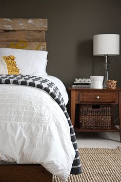 """Recognize that headboard? The is the ever-popular """"love"""" headboard. Here's what's going on next to the bed."""