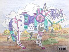 """War Pony"" coloring page by Bryn Lawson. Medium: Colored Pencils"