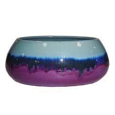 allen + roth 9.84-in x 5.51-in Purple Blue Ceramic Low Bowl Planter