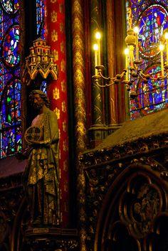 The interior of Sainte-Chapelle, Paris, France  Sainte Chapelle .PARIS 4 (CW6-4). Blvd. du Palais, Ile de la Cite.