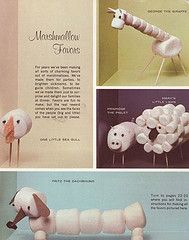 Aren't these fun? Lots of marshmallow creations and how-to's at Kitchen Retro. Crafty Pod featured this page from a vintage children's craft book. Food Crafts, Food Humor, Cute Food, Craft Activities, Food Art, Food Food, Kids Meals, Family Meals, Kids Playing