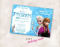 5X7 Birthday party invite Invitation Instant Download FROZEN