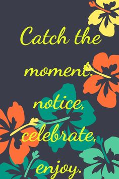 Every day is composed of the moments. What do your do with them? Fret, complain, ignore or notice, celebrate and enjoy.