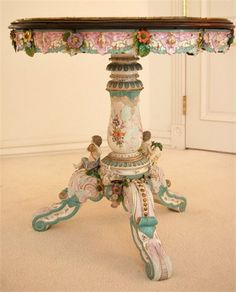 Meissen Table With Porcelain Top And Cherubs At The Foot Of The Table