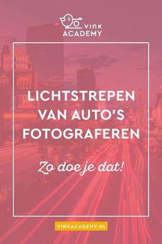 Lightpainting: fotografeer voorbijrijdend verkeer (auto's, bussen, fietsers) en krijg een gaaf effect met lichtstrepen. het voertuig zie je niet meer door de lange sluitertijd met het licht nog wel! #fotografietips