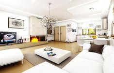 Projekt domu Jak marzenie 88,53 m2 - koszt budowy 83 tys. zł - EXTRADOM Living Rooms, Interiors, Drawing Rooms, Lounges, Living Room, Family Rooms, Interior, Decorating, Dining Room