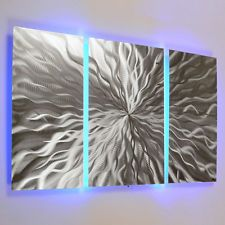 Modern Abstract Metal Wall Art Color Changing LED Lighting Painting Home Decor