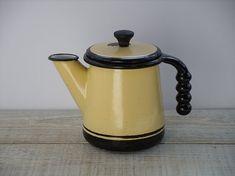 Vintage Enamel Coffee Pot ~ Primitive Tea Kettle ~ Rustic Farmhouse Kitchen Decor ~ Retro Black Yellow Enamelware Display