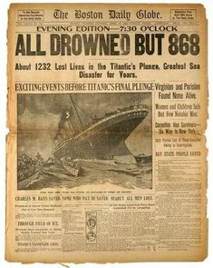 The RMS Titanic sank in the late night hours of April 14, 1912.