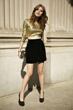 metallic crop top with skirt