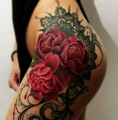 Rose tattoos are intended for both women and men. It can be done with watercolor tattoos. Many times, a tattoo with a rose is known as a sign of unattainable beauty. A rose tattoo is among the most prevalent patterns… Continue Reading → Rose Tattoos For Women, Hip Tattoos Women, Girls With Sleeve Tattoos, Dope Tattoos, Trendy Tattoos, Body Art Tattoos, Stomach Tattoos Women, Tattoo Girls, Lace Thigh Tattoos