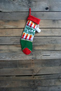 Vintage Green Red & White Happy Holidays Knit by vintapod on Etsy