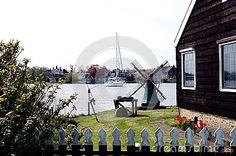Windmill in Zaanse Schans ethnographic museum in Netherlands