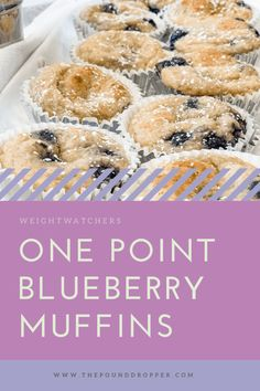 One Point Blueberry Muffins - Pound Dropper - caroline Muffins Weight Watchers, Petit Déjeuner Weight Watcher, Dessert Weight Watchers, Plats Weight Watchers, Weight Watchers Meal Plans, Weight Watchers Breakfast, Weight Watchers Diet, Weight Watchers Blueberry Muffins Recipe, Ww Recipes