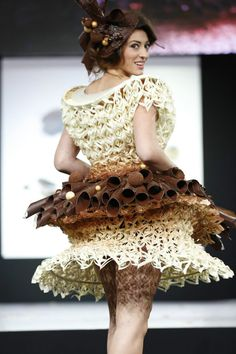 Salon du Chocolat (yes, this dress is made of chocolate!)