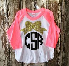 Bow Monogrammed raglan shirt by heavenscentinc on Etsy Monogram T Shirts, Vinyl Monogram, Monogram Design, Vinyl Shirts, Raglan Shirts, Personalized T Shirts, Monogram Shop, Shirts For Girls, Kids Shirts