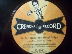 """Happy New Year Auction"" startprice 9,99 Euro #78rpm #Schellackplatte KARL ROCKSTROH  Peer Gynt - E. Grieg  Cremona Record picture label 78rpm 12"