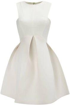 White Round Neck Sleeveless Flare Pleated Dress - Sheinside.com Mobile Site