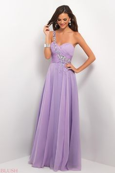 Pretty Empire One Shoulder Floor-length Lilac Prom Dress With Beading Style 9617,Lilac prom dress