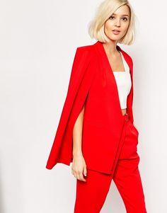Image 1 ofLavish Alice Collarless Cape Blazer in Lipstick Red