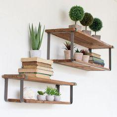 Reclaimed Wood and Metal Shelf - Set of 2