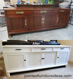 Long buffet painted white with new black hardware: Oooo this may be cool to do with our hutch and table