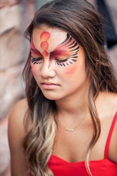 Ideas For Phoenix Bird Makeup Wings Bird Makeup, Makeup Wings, Eye Makeup, Zombie Makeup, Scary Makeup, Face Painting Designs, Body Painting, Adult Face Painting, Maquillage Halloween